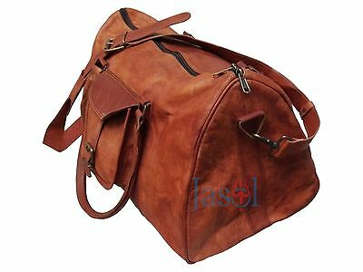 Men's genuine Leather large  weekend overnight BagTriangle Duffle Travel gym