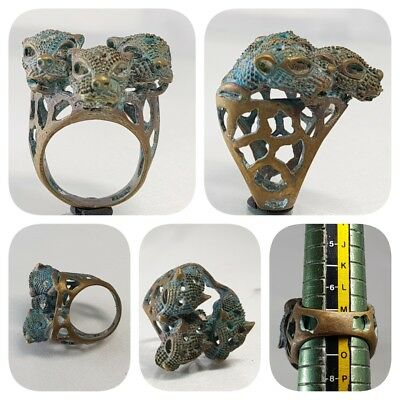Medieval Old Unique Bronze 3 lions Head stunning Ring   # C