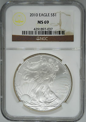 2010 NGC MS 69 $1 Silver American Eagle (Uncirculated 1 oz)