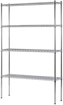Heavy Duty NSF Certified 4-Level Wire Shelving - Chrome (74'H X 48'W X 12'D)