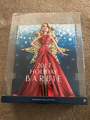 2017 Holiday Barbie Doll Collector Blonde Caucasian Red Dress Star NEW IN BOX
