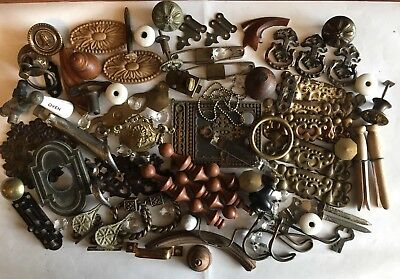 Lot of 75 Pieces of Misc. Antique Hardware for Repurposing/Crafts