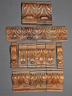 15 Ornements/frontons Anciens Garnitures Bois Sculpte Deco Restauration F483