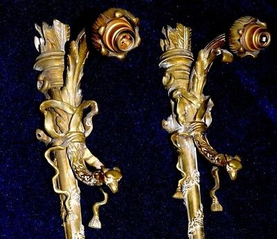 Pair Of Amazing Unusual Antique French Ormolu Bronze Sconces