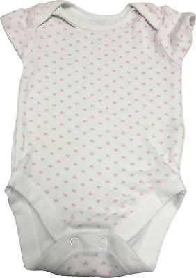 PRE-OWNED George White & Pink Heart Detail Babygrow 0-3 Months DCW15