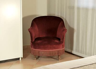 Poltroncina vintage in velluto rosso