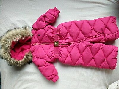 Baby Girls DOWN Polo Ralph Lauren 9M Hooded One Piece Jacket Winter Snowsuit