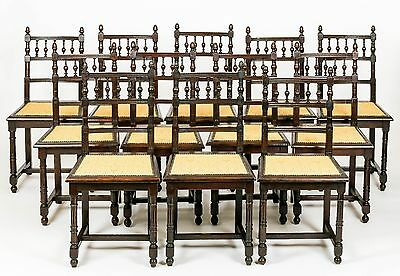 Antique Set of 12 French Carved Oak Dining Chairs Restored Furniture