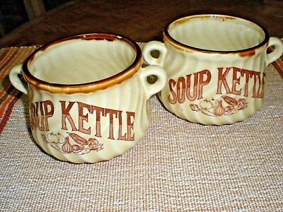 """Two Vintage """"SOUP KETTLE"""" Bowls With Side Handles, Each Holds Two Cups, Japan"""