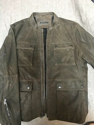 John Varvatos men's smooth suede leather motorcycle jacket in cast iron