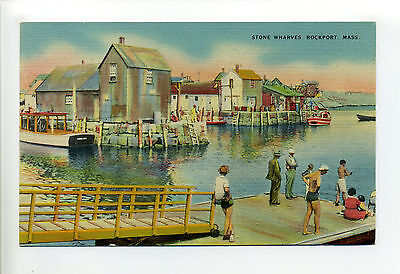 Rockport MA Mass Stone Wharves, people on dock, boat, shacks, linen