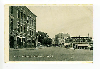 Andover MA Mass Elm Square, street view, Post Office, trolley, stores, early