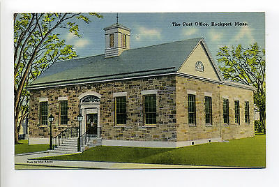 Rockport MA Mass The Post Office, linen, Cornerstone laid 1937, cost $80,000