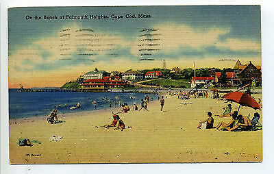 Falmouth Heights MA Mass people on beach, cottages, linen 1945