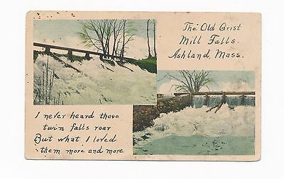 Ashland MA Mass The Old Grist Mill Falls, poem, antique postcard