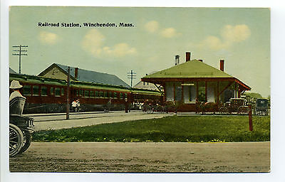 Winchendon MA Mass railroad station, train, people, horse, buggy, early