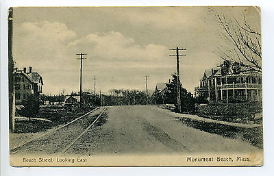 Monument Beach MA Mass (Bourne) Beach Street looking east, trolley tracks, homes