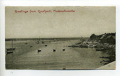 Greetings from Rockport MA Mass harbor view, boats, buildings on shore, early