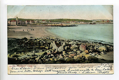Rockport MA Mass 1906, beach with buildings in distance, tiny people