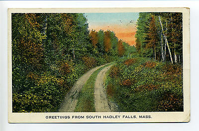 Greetings from South Hadley Falls MA Mass, dirt road through woods, 1933