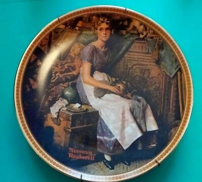 NORMAN ROCKWELL COLLECTOR PLATE ( Dreaming In The Attic) with Wall Hangers