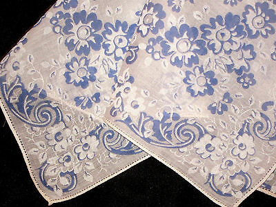 OLIVE'S True Vtg HANKY Collection from1940's*UNUSED*Baby BLUE & WHITE*FLORAL*ExC