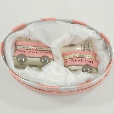 Mud Pie Princess First Tooth Curl Pink White Ceramic Trinket Set Baby Boxes