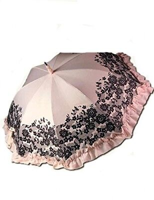 Victorian Trading Co Pink Chantilly Black Lace Umbrella