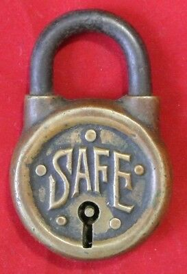 Vintage Antique Solid Brass Safe Round Lever Padlock - No Key
