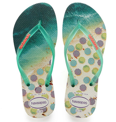 23bc3f8ed Havaianas Women`s Flip Flops Slim Paisage Sexy White and Mint Green Sandals  NWT
