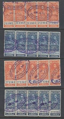 Canada Revenues Feg 5 &6 And 10 & 11 Used Strips Of 5 Nice
