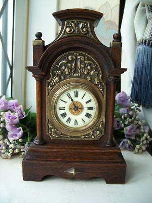 VERY PRETTY, UNUSUAL, SMALL GOTHIC ANTIQUE OAK MANTLE CLOCK c1900