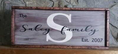 Family Last name monogram country wooden hand painted sign farmhouse rustic look