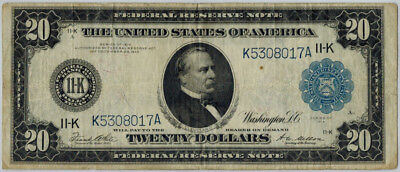 1914 $20 Federal Reserve Note Large Size Blue Seal Dallas Fine Condition