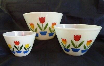 3 Anchor Hocking Fire-King TULIP Splashless Mixing Bowls Large 9 1/2 8 1/2 & 5.5