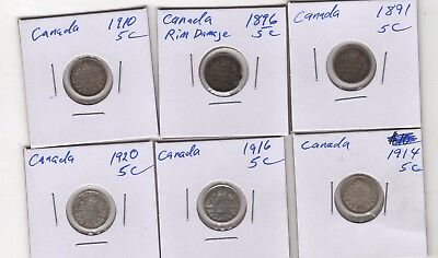 1891-1920  CANADA Silver 5 Cents LOT of six Coins