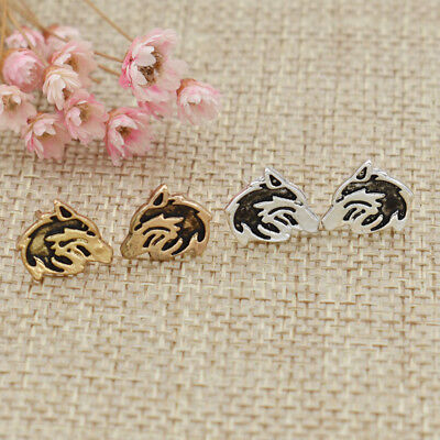 1Pair Cute Gold Hollow Carved Wolf Head Earring Ear Stud Women Fashion Jewelry
