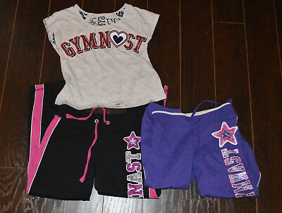 Justice Girls Gymnastics Jewels Sweatpants Shirts Tops Outfits Sets 8 LOT