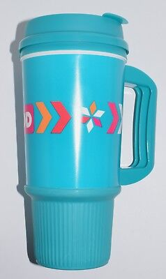 DUNKIN DONUTS  24 oz TEAL TRAVEL MUG CUP w Handle hot or cold WHIRLEY -BRAND NEW