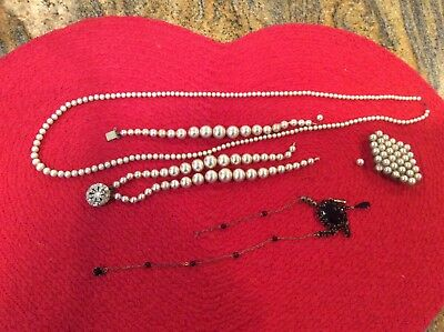 Estate Junk Drawer Lot of Vintage and later Costume Jewelry faux pearls
