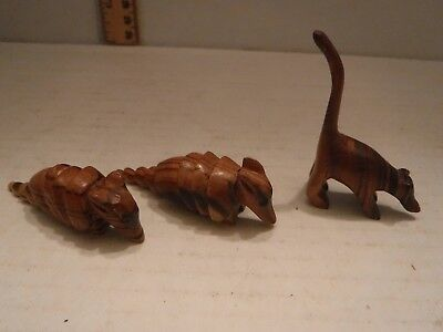 SMALL WOODEN HAND CARVED ANIMALS, LOT OF THREE, 2 ARMADILLO's, 1 MONKEE