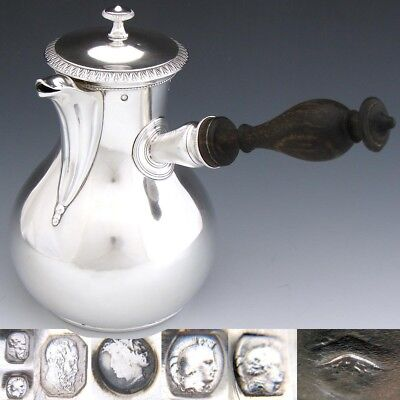 Fab Antique French Sterling Silver Chocolate Pot, Verseuse, 1819-1838 Hallmarks