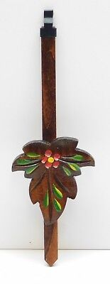 "Cuckoo Clock Pendulum 2.5"" Maple Leaf with Flowers NEW Brown German Made 7"""