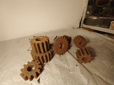 (Lot of 7)Vintage Industrial Steampunk Cast Iron Gear Sprocket Cog