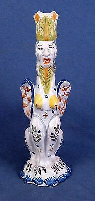 One c. 1920 French Faience Quimper Grotesque Candlestick #2 by Birks, Paris
