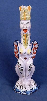 One c. 1920 French Faience Quimper Grotesque Candlestick by Birks, Paris