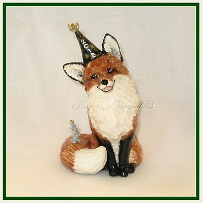 KIMMEL ORIG. SCULPTURES - Happy New Year! FOX & Mouse celebrate together! *OOAK*