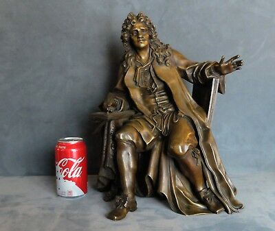 RARE Large Bronze Moliere Statue 1880's Museum Quality