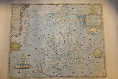 Saxtons 1579 Map of England & Wales  1985 Poster Print from British Library Boar