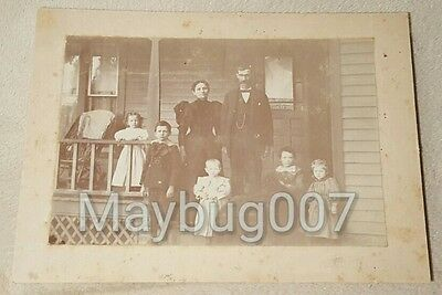 Antique Mounted Photograph Family on Porch James Goursuch Photographer